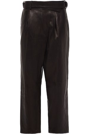 Helmut Lang Woman Cropped Belted Leather Straight-leg Pants Dark Size 0