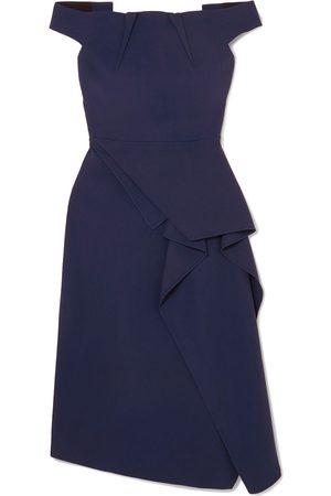 Roland Mouret Women Strapless Dresses - Woman Arch Off-the-shoulder Draped Crepe Midi Dress Navy Size 16