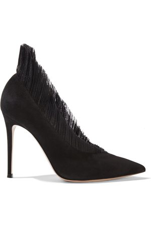 Gianvito Rossi Woman Divine 105 Ruffled Tulle And Suede Pumps Size 36