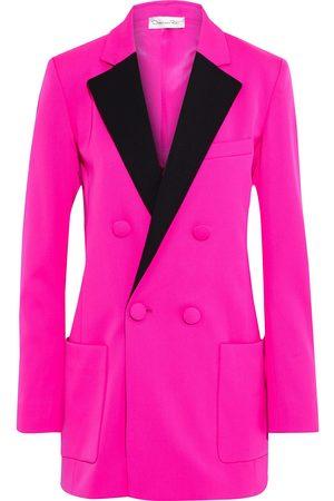 Oscar de la Renta Women Blazers - Woman Double-breasted Two-tone Neon Wool-blend Twill Blazer Bright Size 6