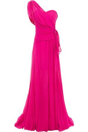 Dundas Woman One-shoulder Draped Silk-georgette Gown Fuchsia Size 40