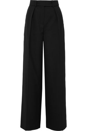 ALEXANDRE VAUTHIER Woman Satin-trimmed Grain De Poudre Wool Wide-leg Pants Size 38