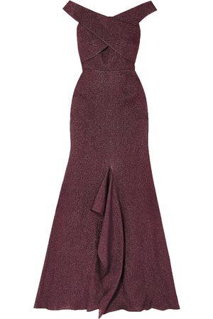 Roland Mouret Women Strapless Dresses - Woman Ray Off-the-shoulder Metallic Piqué Gown Grape Size 10
