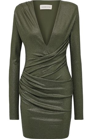 ALEXANDRE VAUTHIER Woman Ruched Crystal-embellished Stretch-jersey Mini Dress Army Size 38