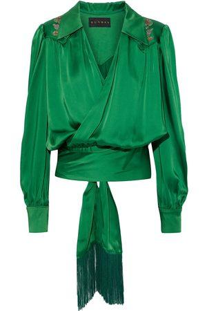 Dundas Women Wrap tops - Woman Fringe-trimmed Appliquéd Satin Wrap Blouse Size 42