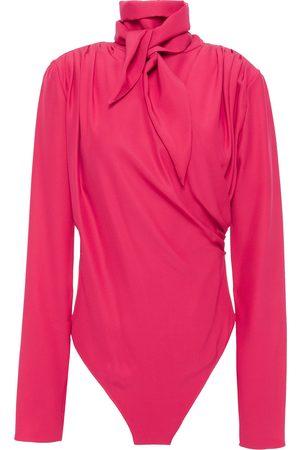 MAGDA BUTRYM Woman Tie-neck Layered Silk-satin Bodysuit Fuchsia Size 36