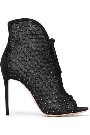 Gianvito Rossi Women Ankle Boots - Woman 105 Embellished Suede-trimmed Mesh Ankle Boots Size 40