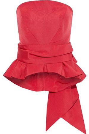 BRANDON MAXWELL Women Strapless Tops - Woman Strapless Bow-embellished Silk-faille Peplum Top Size 4
