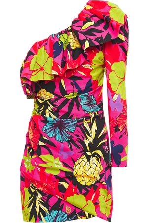 Dundas Women Party Dresses - Woman One-shoulder Ruffled Printed Cotton-blend Faille Mini Dress Bright Size 38