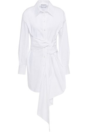 Redemption Women Casual Dresses - Woman Draped Ruched Cotton-blend Poplin Mini Shirt Dress Size 42