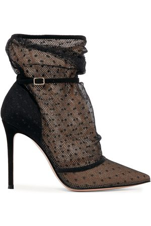 Gianvito Rossi Women Ankle Boots - Woman 105 Polka-dot Tulle And Suede Ankle Boots Size 35