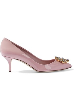 Dolce & Gabbana Women Heeled Pumps - Woman Bellucci Crystal-embellished Patent-leather Pumps Baby Size 38.5
