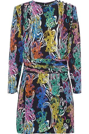 Dundas Women Party Dresses - Woman Button-embellished Ruched Printed Crepe Mini Dress Size 36