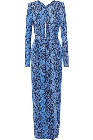 Dundas Women Printed Dresses - Woman Belted Twist-front Snake-print Jersey Maxi Dress Size 42
