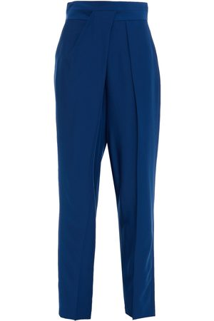 Halston Heritage Women Pants - Woman Pleated Twill Tapered Pants Royal Size 10