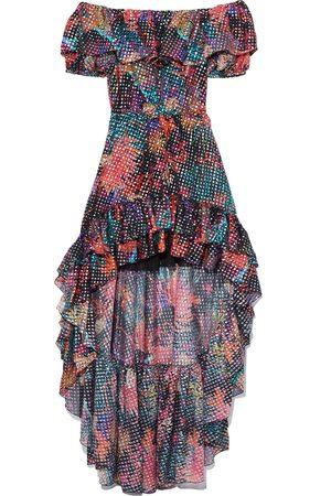 Dundas Women Asymmetrical Dresses - Woman Asymmetric Printed Metallic Fil Coupé Silk-blend Dress Size 44