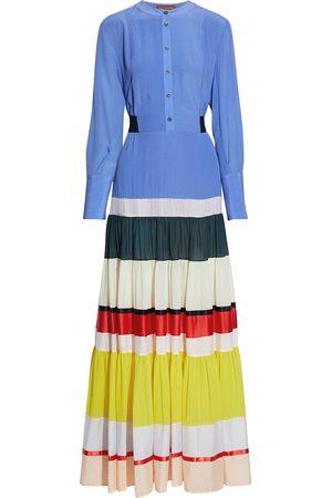 Altuzarra Women Maxi Dresses - Woman Tiered Color-block Georgette And Crepe De Chine Maxi Dress Size 38