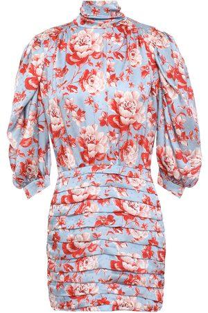 MAGDA BUTRYM Woman Setubal Pleated Floral-print Silk-satin Jacquard Mini Dress Light Size 38