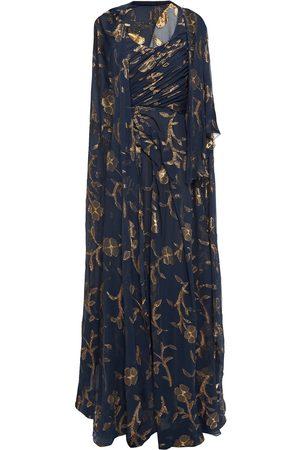 Oscar de la Renta Women Evening dresses - Woman Cape-back Metallic Fil Coupé Silk-blend Chiffon Gown Navy Size 10