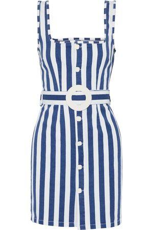 Solid Woman Belted Striped Denim Mini Dress Size M
