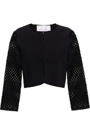 Carolina Herrera Woman Guipure Lace-paneled Stretch-knit Cardigan Size L