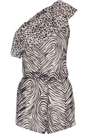Stella McCartney Women Playsuits - Woman Animal Mix One-shoulder Ruffled Printed Cotton-gauze Playsuit Animal Print Size S