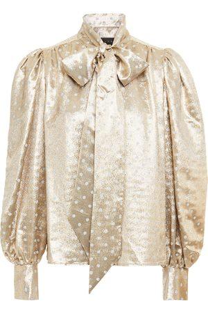 Dundas Women Blouses - Woman Pussy-bow Polka-dot Silk-blend Lamé Blouse Size 40