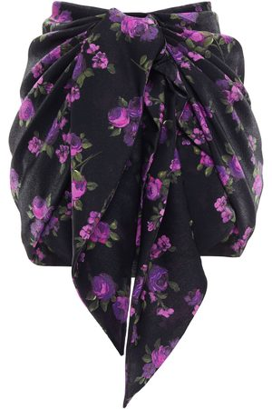 MAGDA BUTRYM Women Printed Skirts - Woman Tie-front Floral-print Silk-crepe Mini Skirt Size 36
