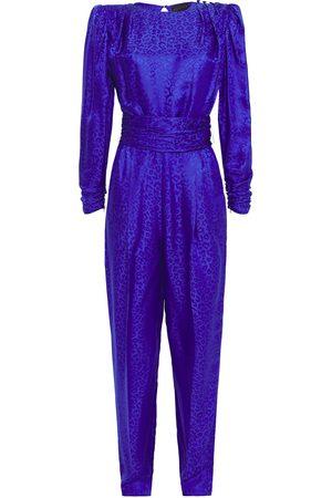 Dundas Women Jumpsuits - Woman Button-embellished Pleated Satin-jacquard Jumpsuit Bright Size 44
