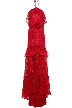 Dundas Woman Ruffled Floral-appliquéd Corded Lace Halterneck Gown Crimson Size 36