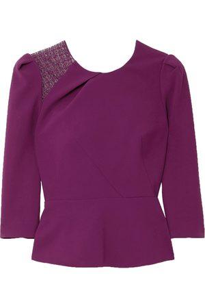 Roland Mouret Women Tops - Woman Ashridge Lace-trimmed Crepe Top Violet Size 10