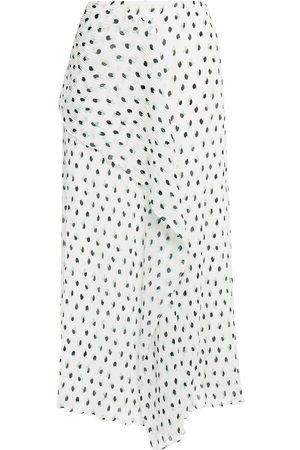 Roland Mouret Woman Falun Draped Printed Plissé-georgette Midi Skirt Size 12