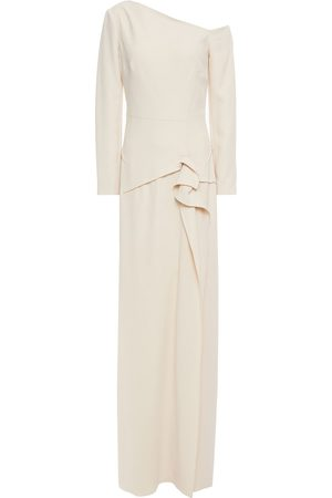 Roland Mouret Women Strapless Dresses - Woman Salona Off-the-shoulder Draped Crepe Gown Ecru Size 10