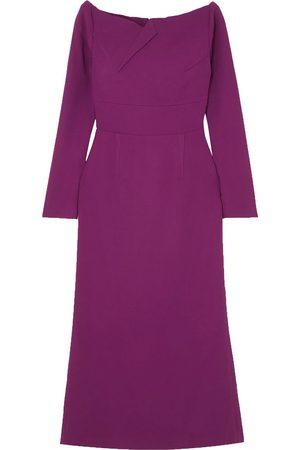 Roland Mouret Women Strapless Dresses - Woman Romolo Off-the-shoulder Stretch-crepe Midi Dress Violet Size 10