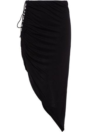 Helmut Lang Women Mini Skirts - Woman Asymmetric Ruched Jersey Skirt Size M