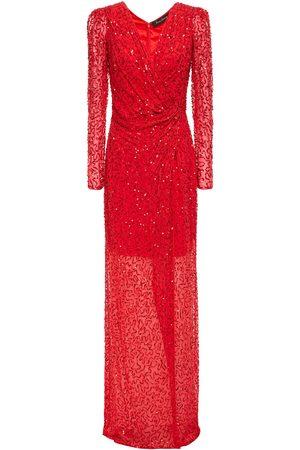 Jenny Packham Women Evening dresses - Woman Wrap-effect Embellished Georgette Gown Size 10