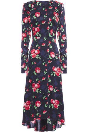 MAGDA BUTRYM Woman Open-back Ruched Silk-satin Jacquard Midi Dress Navy Size 40