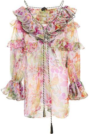Dundas Women Blouses - Woman Ruffled Floral-print Silk-organza Blouse Pastel Size 36