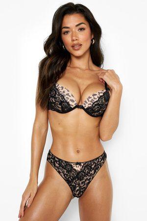 Boohoo Women Underwear Accessories - Womens Leopard Contrast Lace Brazillian - - 2