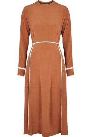 BODICE Women Midi Dresses - Orange panelled silk crepe de chine midi dress