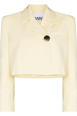 Ganni Cropped suit blazer