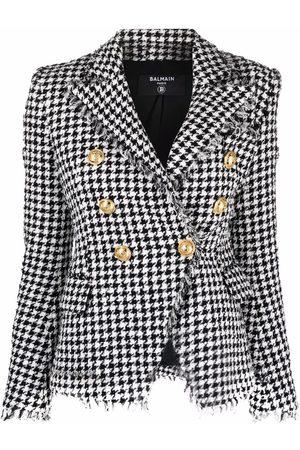 Balmain Double-breasted houndstooth tweed jacket