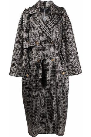 Balmain Women Trench Coats - Monogram-pattern trench coat