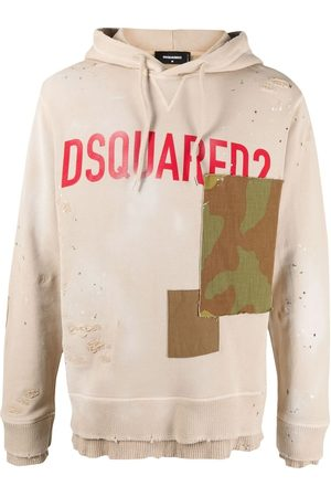 Dsquared2 Men Hoodies - Logo-print patchwork hoodie - Neutrals