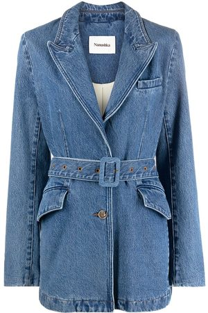 Nanushka Women Denim Jackets - Gili belted denim jacket