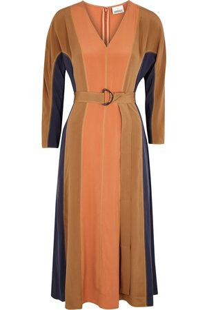 BODICE Women Midi Dresses - Color-blocked silk crepe de chine midi dress