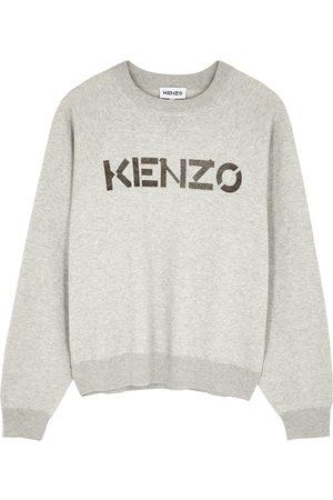 Kenzo Grey logo-intarsia wool-blend jumper