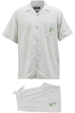 Desmond & Dempsey Men Sweats - Striped Cotton-oxford Pyjama Set - Mens