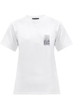 Balenciaga Women T-shirts - Barcode Logo-print Cotton-jersey T-shirt - Womens