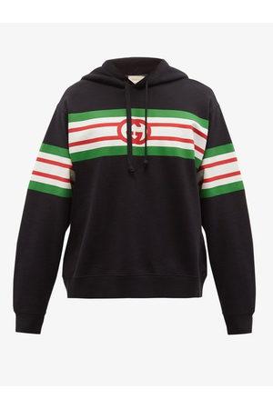 Gucci Web-stripe Cotton-jersey Hooded Sweatshirt - Mens